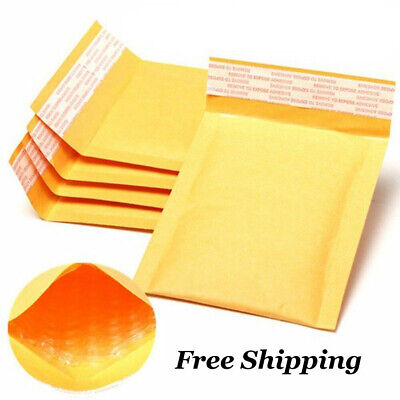 10 xKraft Bubble Yellow Mailers Padded Mailing Bags Paper Shipping Envelopes New