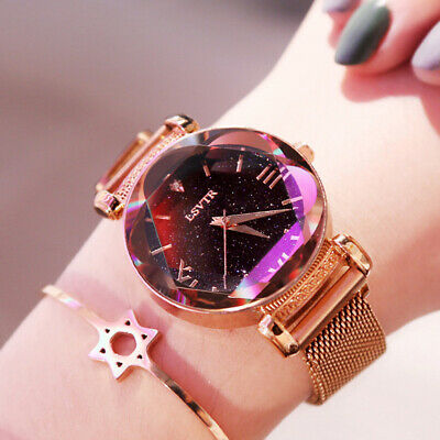 Elegant Ladies Watch Starry Sky Round Dial Women Bracelet Watches Magnetic Preci