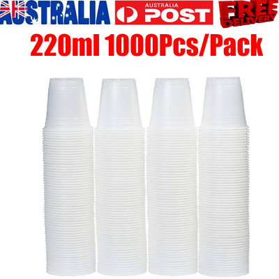 1000x Disposable Plastic Cups Clear Reusable Drinking Water Cup Party 220ml Bulk