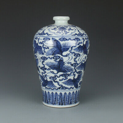 Chinese Old Porcelain Ming Blue and White Cranes Mei Vase