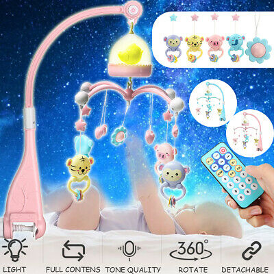 Baby Crib Mobile Bed Bell Hanging Music Box Night Light Newborn Toy Gifts AU