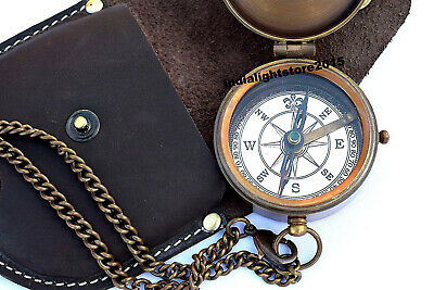 Nautical Antique Brass Marine Poem Compass With Leather Case