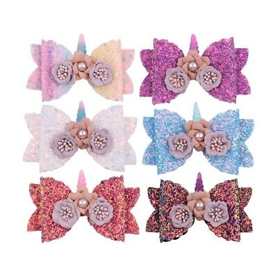 Girls Hairpin Bowknot Barrette Glitter Unicorn Hair Clips Kids Bow Hairpins Chic