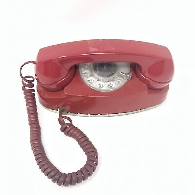 VTG 1983 Princess Western Electric Rotary Telephone Pacific Red Tabletop wall