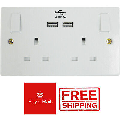 Eagle White Double Switched 2 Gang 13A Wall Plug Socket with 2 USB Outlets Ports