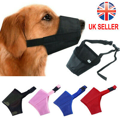 UK Dog Safety Muzzle Muzzel Adjustable Biting Barking Chewing Small Medium Large