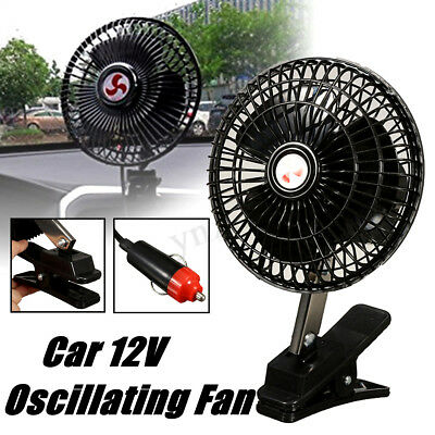 12V DC Electric Car Oscillating Cooling Fan Clip For Vehicle Van Truck Portable