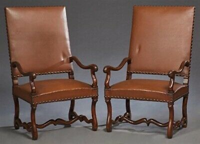 Antique French Walnut & Leather Fauteuils Armchairs (pair) | Library Chairs