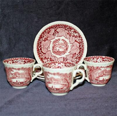 Masons Vista Red Transferware Demitasse Cup and Saucer, Old Marks, 2 Available