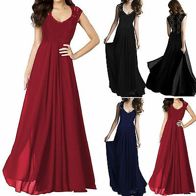 Womens Lace Chiffon Long Maxi Pleated Skater Dress Formal Evening Party Cocktail