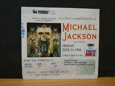 MICHAEL JACKSON ENTRADA concierto Wembley en Londres Y PROGRAMA DANGEROUS WORLD