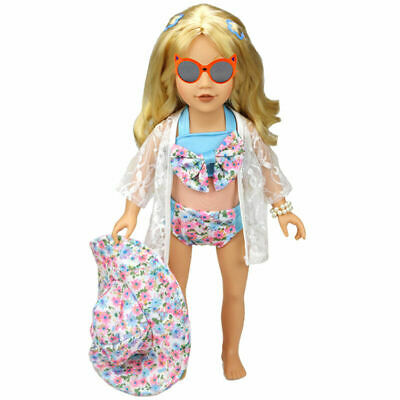 1 Set Hat Swimwear Bathing Suit Clothes For 18 Inch Toy Doll Accessories R7G1