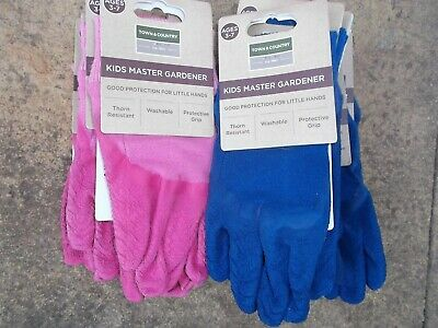 Town & Country Kids Master Gardener Gardening Gloves Age 3-7 Blue & Pink X 22
