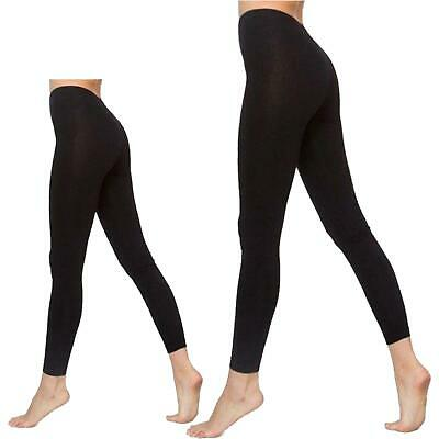 Ladies Black Viscose Leggings Plain Stretchy Elasticated Waist Womens Trousers