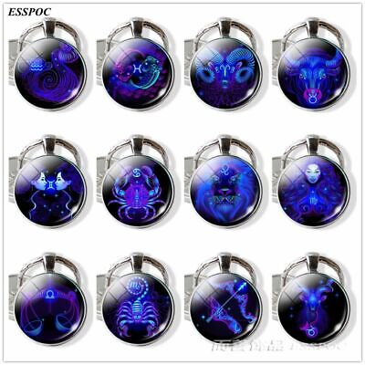 Constellation Keychains Glass Cabochon Pendant Zodiac Sign Keyring Key Chains