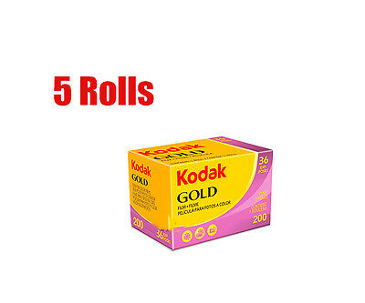 5 Rolls Kodak Gold 200 35mm 135- 36 Color Negative Film Fresh 2021