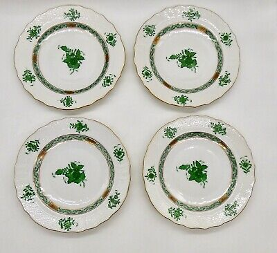 Herend Porcelain Chinese Bouquet Green Salad Plates Lot Of 4