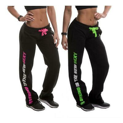 MusclePharm Ladies Printed Fleeced Straight Leg Jogging Joggers Gym Pants XS-L
