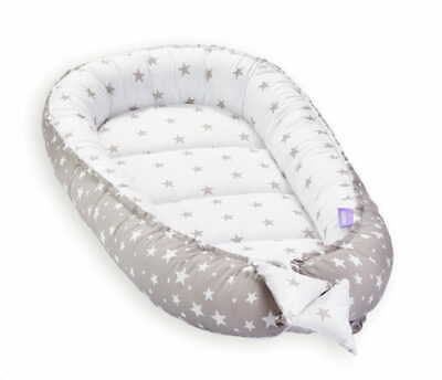 Newborn Baby Nest Cocoon Long Nest Cushion Breathable 50cm x 90 cm /Grey -White
