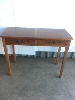 Reproduction 2 Drawer Yew Wood Side Table