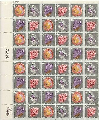 Stamp US Sc 1538-41 Sheet 1974 Mineral Heritage Petrified Wood Amethyst MNH