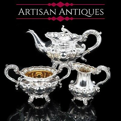 Magnificent Georgian Solid Silver Three-piece Tea Set - Benjamin Smith