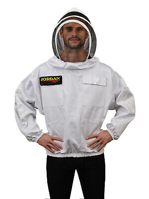White Beekeeping Bee Jacket with Fencing Veil - 6 Pockets, Front