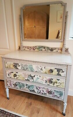 Vintage Chest of Drawers with Mirror, Dressing Table, painted and decoupage