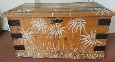 Antique Pine Blanket Box, Ottoman, Chest