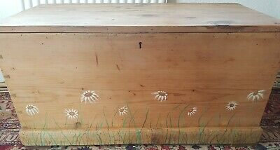 Antique Pine Blanket Box, Ottoman, wooden trunk, chest