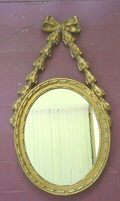 Vintage Gold gilded  Fancy wood hanging OVAL WALL MIRROR RIBBON & BOW design
