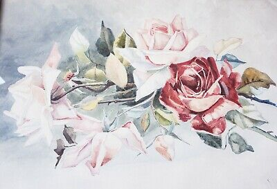 WOW~ Antique ROSES PAINTING Framed Watercolor Vintage Signed F. HAAGES 20.5x16.5