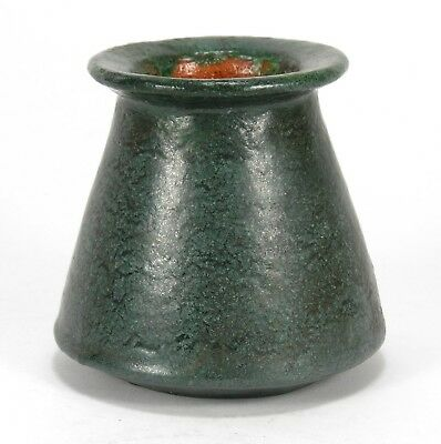 Merrimac Pottery matte green feathered glaze canted side vase arts & crafts