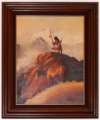 Native American Oil Painting Warrior by Taylor Man w Horse Wood Frame
