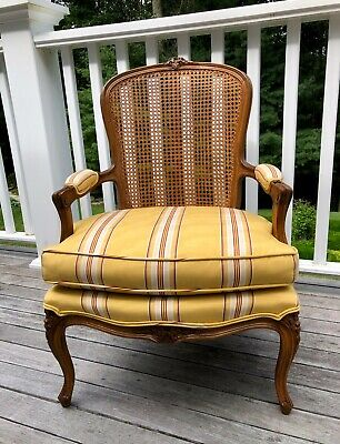 FRENCH CHAIR LOUIS FAUTEUIL BERGERE CANE WOOD YELLOW MOIRE FABRIC - Pick Up Only
