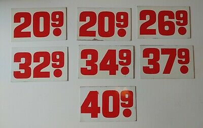 VINTAGE-ANTIQUE RED-WHITE EMBOSSED Gas Station Price Sign  Number: 4