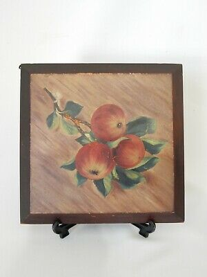 Antique Vintage Australian Timber Woodenware Wall Hanging Picture Stone Fruit
