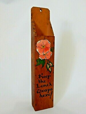 Antique Vintage Australian Keep The Lunch Wraps Here Wall Hanging Holder Kitchen