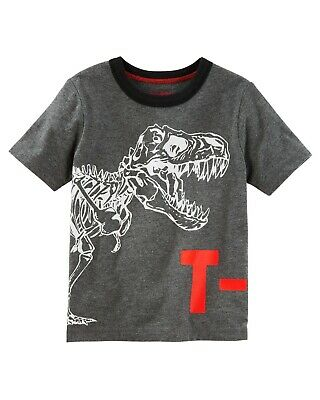 Oshkosh NWT 18 Months Boys T-REX Dinosaur Short Sleeve Shirt Gray
