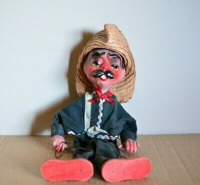 Great Old 1940s Mexican Wearing A Sombrero Hat Marionette Puppet