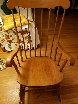 Antique solid wood adult rocking chair, Vintage wood rocking chair, wood rocker