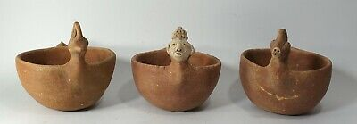 REPRO Pre-Columbian era Mississippian Pottery Animal Figure Bowl Bird on Rim LOT