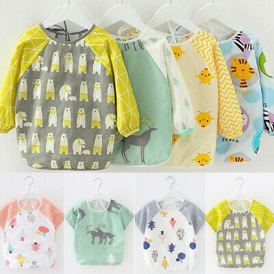 Feeding Art Apron Bib Smock Boys Girls Baby Toddler Kids Long Sleeve Waterproof