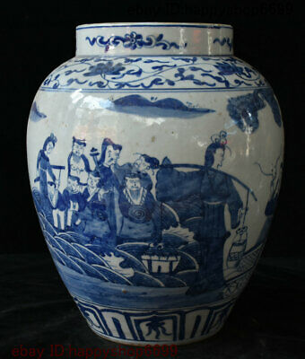 China Blue White Porcelain Paint 8 Immortal PaHsien Cross Sea Vat Crock Vase Jug