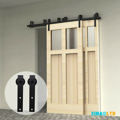 4FT-20FT Sliding Barn Wood Door Hardware Roller Track Kit, Single/Double/Bypass