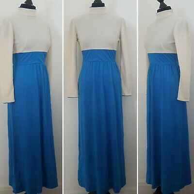 Ladies VINTAGE 70s Maxi Dress Sz 8/10 WITH FAULTS Blue Cream Retro Fancy Boho