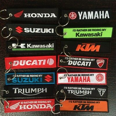 Motorcycle Embroidered Keychain Motorbike Racing Car Key Ring Fob Holder Tag