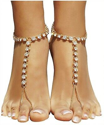 Foot Chain Barefoot Sandals Beach Jewelry Anklet with Rhinestone Toe Ring