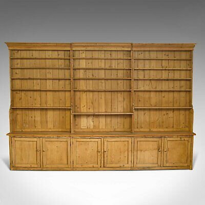 Very Large, Antique Dresser, Victorian, Pine, Kitchen Cabinet, Bookcase, c.1850