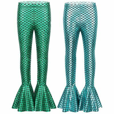 Girls Shiny Mermaid Leggings Halloween Party Fish Scales Printed Bell Bottoms